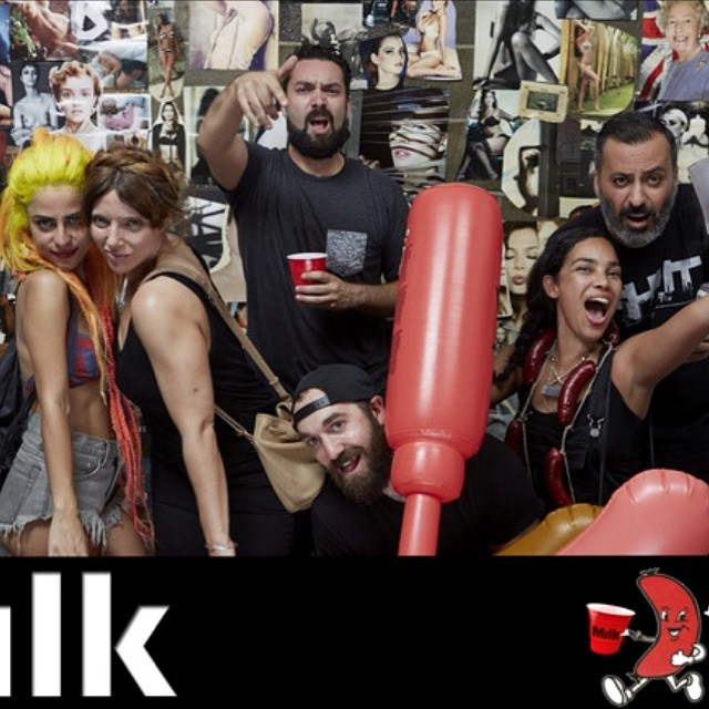 """We all make plans, to go out this Summer""@milk @djjulietwinkle @claudialakemakeup #halehnematzadeh #halehtv #milkstudios #milkstudiosBK #sausagefest"