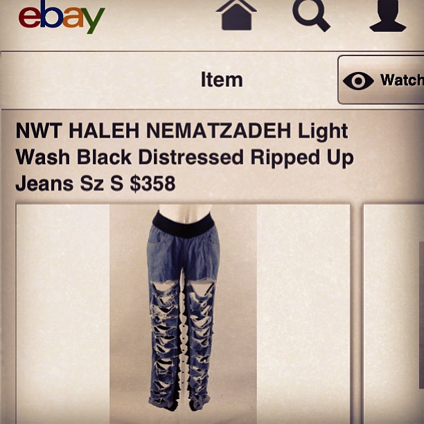 Just saw a pair of old Haleh Nematzadeh jean sweats from 2008 on eBay.