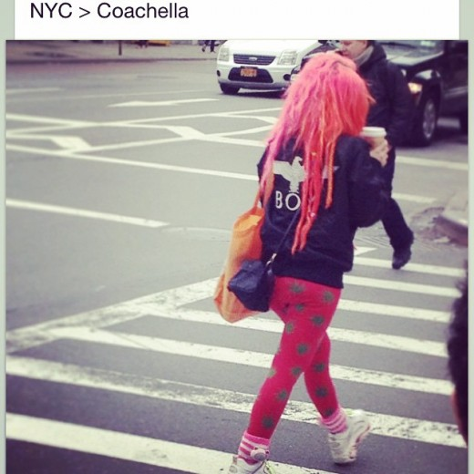 "So I just saw a style blog capture me on the street here in NYC only to tag and associate me with that horrid mess called Coachella. It took me since 2011 to finally transform into this. ""This"" may not be understandable from a picture where I'm just in leggings running to the doc, what I'm referring to is its fullest expression. I work and create three years ahead of myself in terms of what I will come out with next. When I work on a ""collection"" if you will call it that. I know the next three that are coming out simultaneously after. If I have decided to morph into the next, it's because I'm ready to come out with that ""collection"". I have to be prepared to fight and protect at all costs. And since I've been dealing with something physical for quiet some time which I'm now proudly coming out of, I can now morph into this knowing I can do so. Here is the problem I have with all these ""style"" blogs, Instagram pages etc. What started out as something very powerful and equalizing , something that gave those a voice where they wouldn't have had a chance in that old paradigm myself included has imploded on itself. There is nothing better than doing what u love, and expressing what inspires you. But, for fuck sake do your research and learn , dare I say experience what you are referencing before you reference them. People are referencing subcultures all the time now without understanding their power. To walk around and embody these movements when they first came out meant you would be made fun of all the time, being called a ""freak"" 15 times a day,ridiculed and ostracized from conventional societal norms. Health goth is not a subculture. It's a style of dressing that got popular from a few influential Instagram accounts. There is a difference. Boy london was a brand heavily involved and influencing many different scenes. it has nothing to do with a lame ass music festival corporate monstrosity Coachella has evolved into over the past years. My comment to them:"
