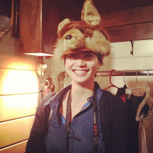 A passerby in my bear hat!