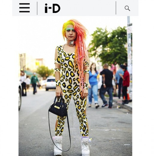 "https://i-d.vice.com/en_us/article/straight-ups-the-most-original-looks-at-bushwick-open-studios My hiding out streak gets busted by (@iD_magazine) ... ""Straight Up I'll tell U"" An essay by Haleh.tv Being ""straight up"" is a tough way to live. You give up everything in order to gain what's real. Straight up here I am, being witnessed in my look which is more so my brand than ever, and in hindsight it always was. To influence means to embody your truth, and release all stagnation and ties. Being witnessed straight up from this publication carries significance in my being as it shaped my thoughts and influence me to feel comforted by what I was seeking during formative years. My hope is there will always be raw intelligence in the media, as I remember and salute the era of The Face, and I-D in their original incarnations and intentions."
