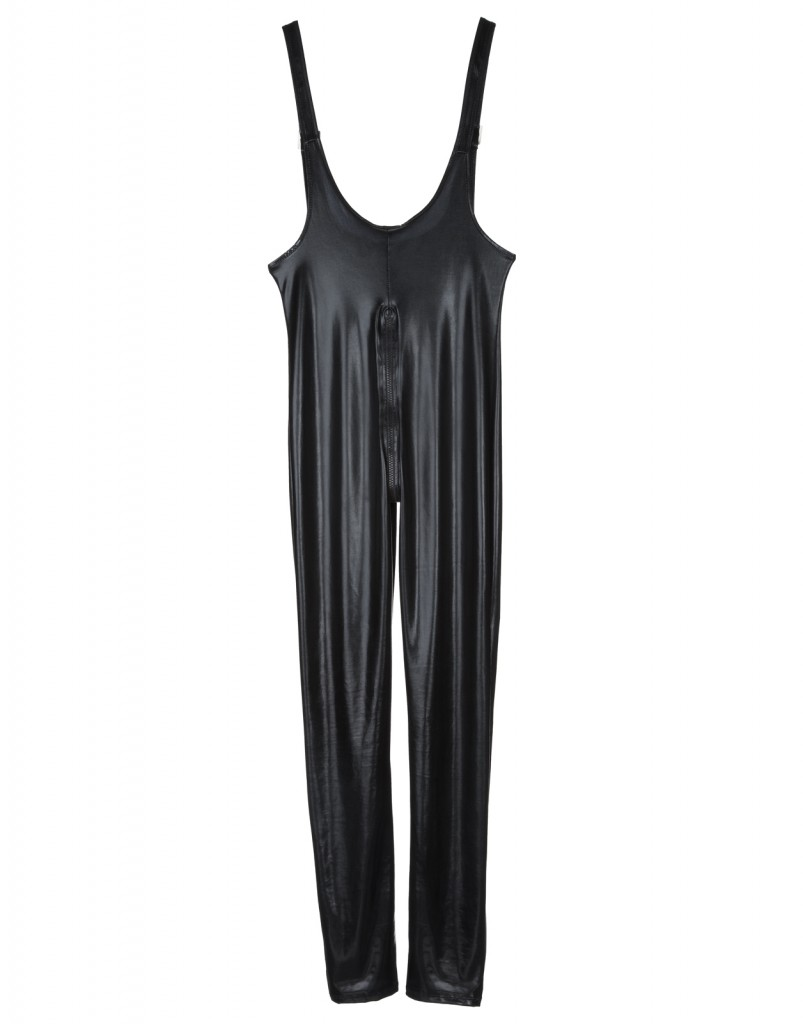 VINYL BUCKLE SUSPENDER CATSUIT